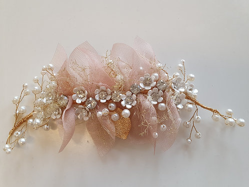 Rose Gold Hair Vine With Organza
