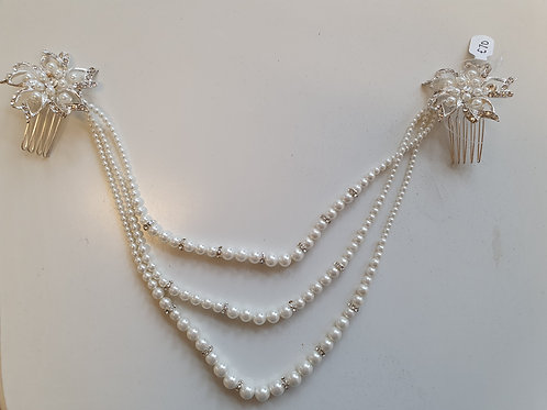 Draped Pearl Hair Combs