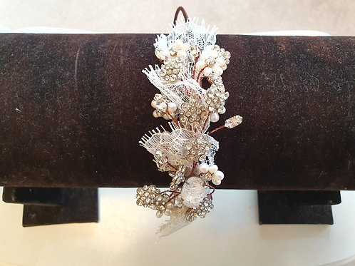 Pearl, Lace & Diamante Side Headband