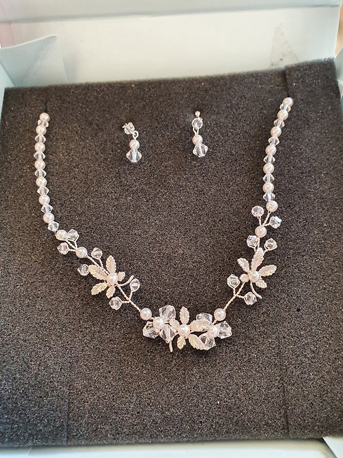 Crystal & Pearl Necklace & Earring Set