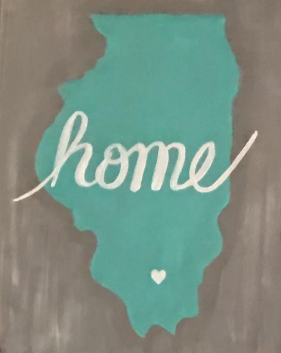 Illinois home turquoise grey