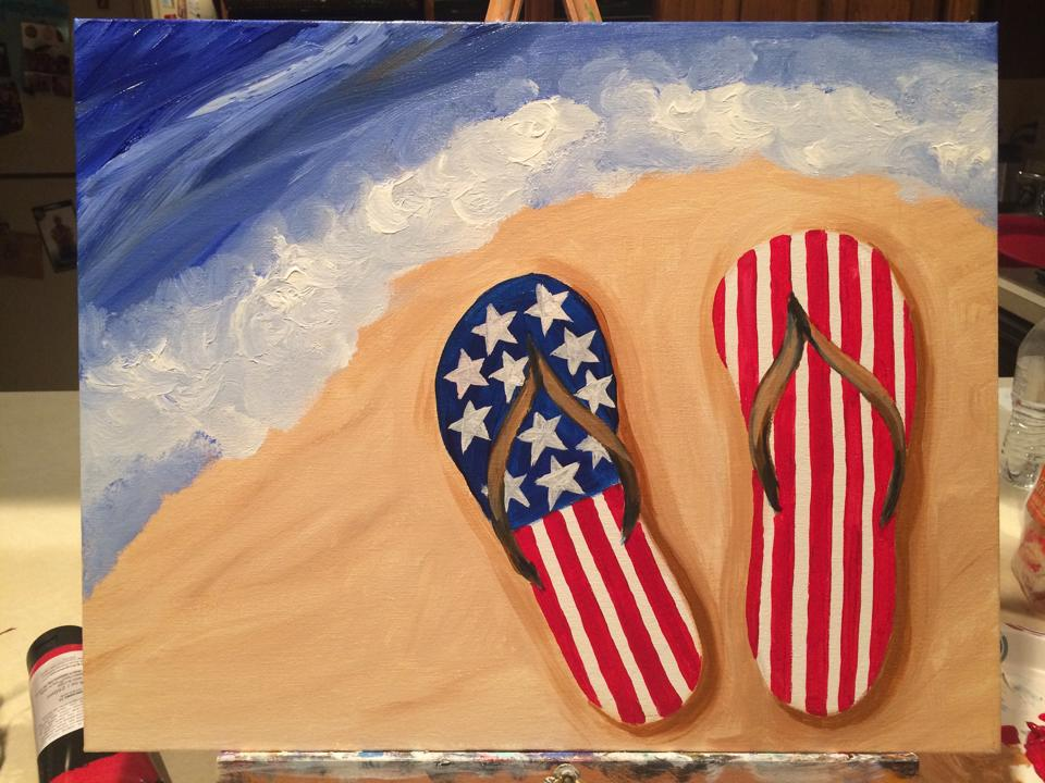 summer patriotic flip flops