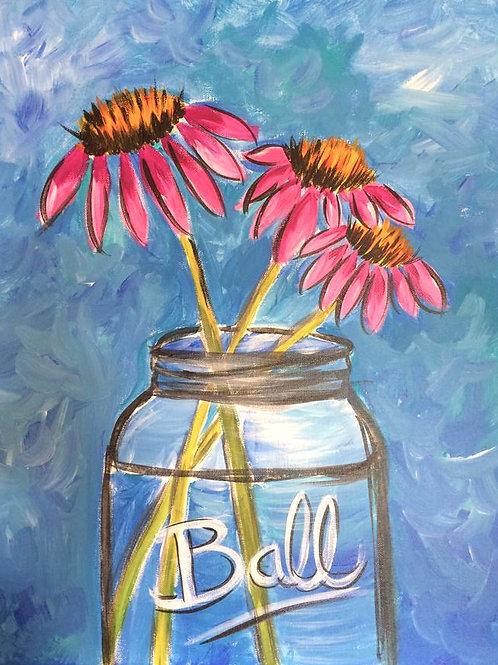Ball Jar Coneflowers