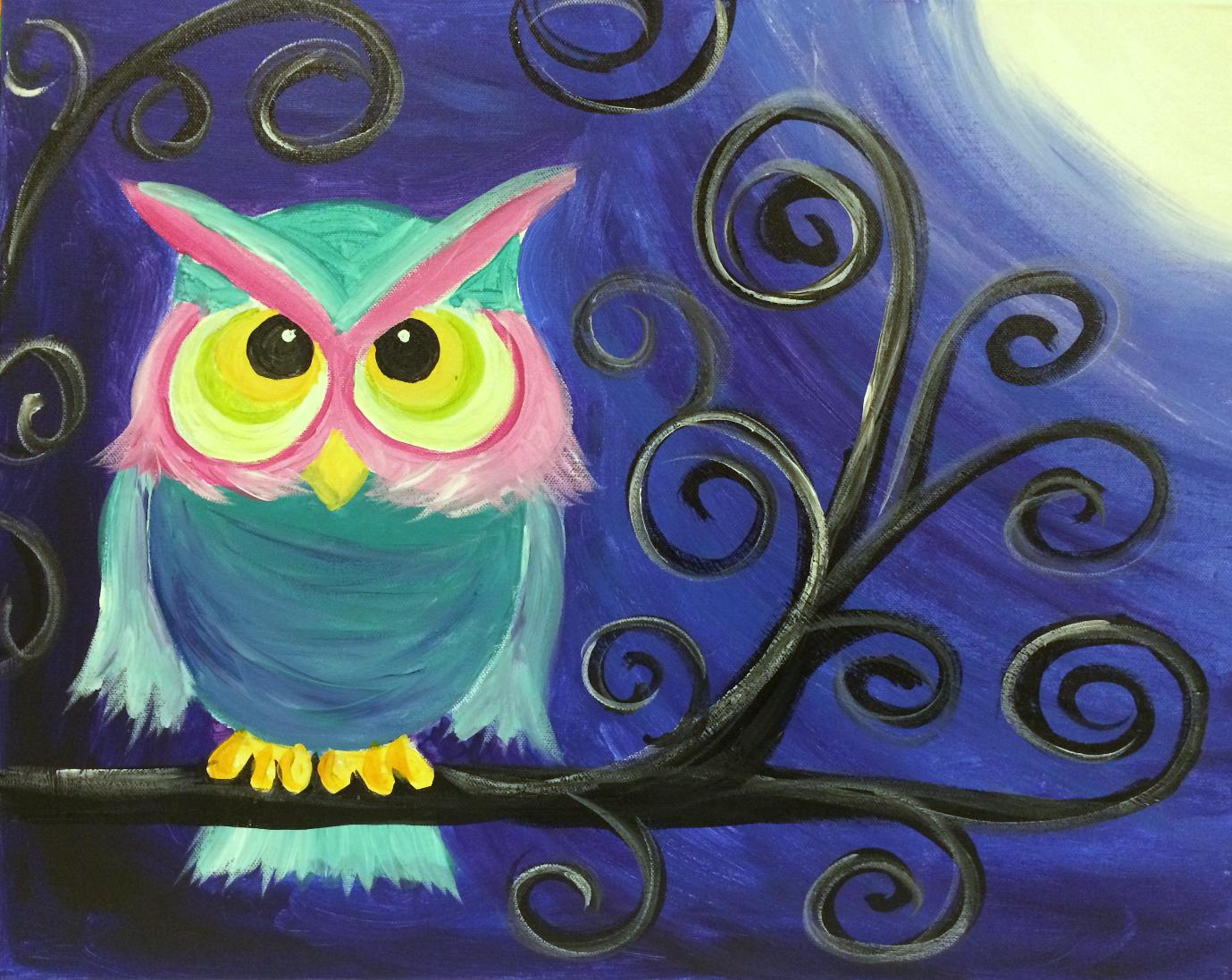swirlie owl teal