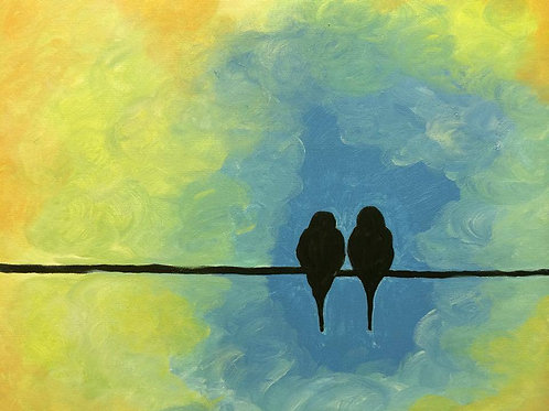 Birds on a Wire-Blue
