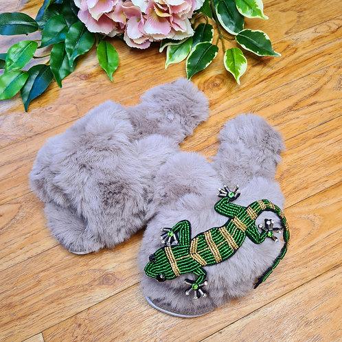 Grey Fluffy Faux fur slippers