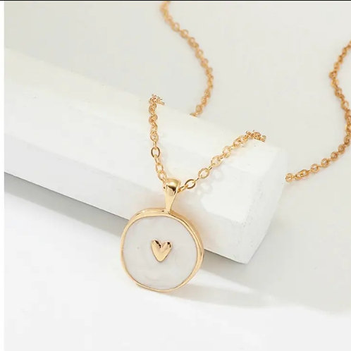 Gold Heart Charm Enamel Necklace