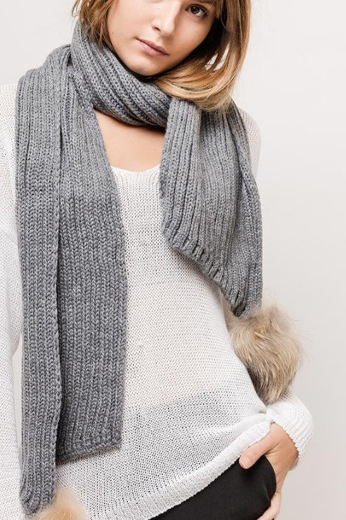 Knitted Scarf with pompom