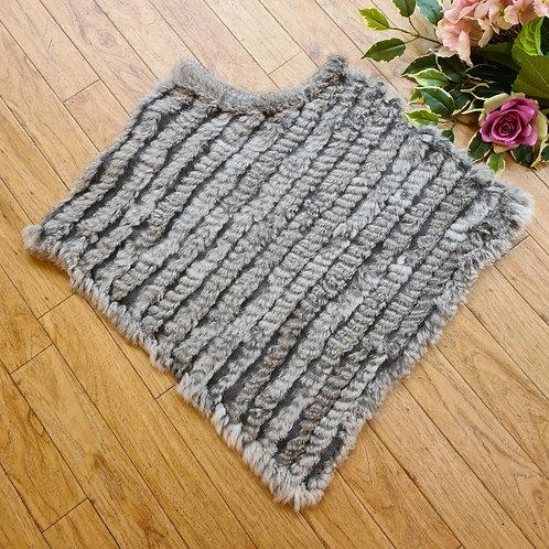 100%Fur poncho Light grey