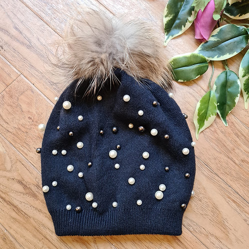 Pompom Hat with Pearls