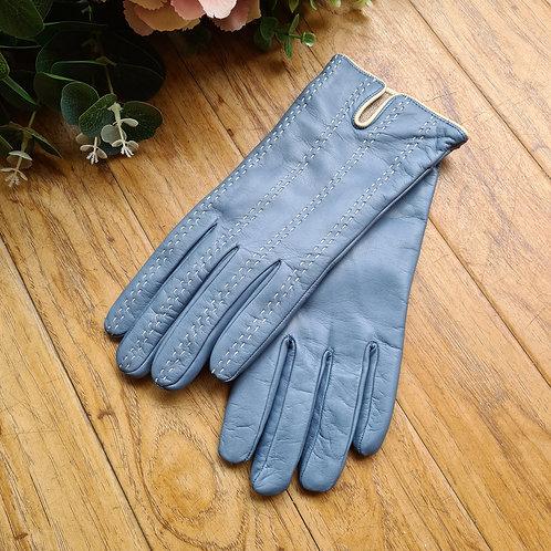 Blue  Italian leather gloves