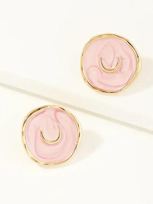 Pink Horse Shoe  Enamel Earrings