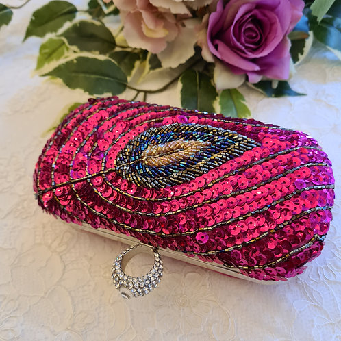 Clutch bag fuschia peacock