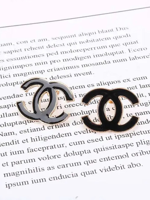 Double C Stainless steel black Enamel stud earrings