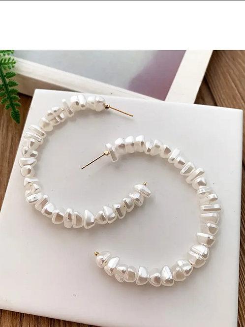 Pearl Beaded Hoop Earrings