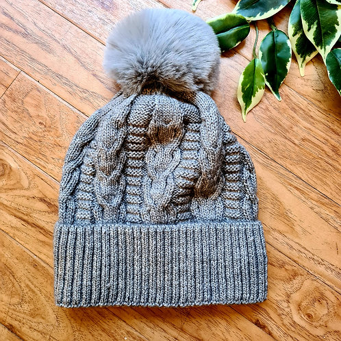 Pompom Hat with fur lining