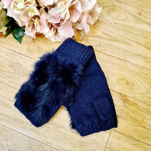 Fingerless Gloves with Fur