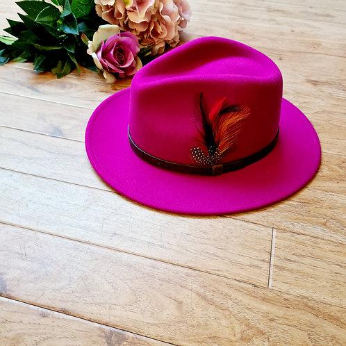 Fuschia %wool felt fedora hat