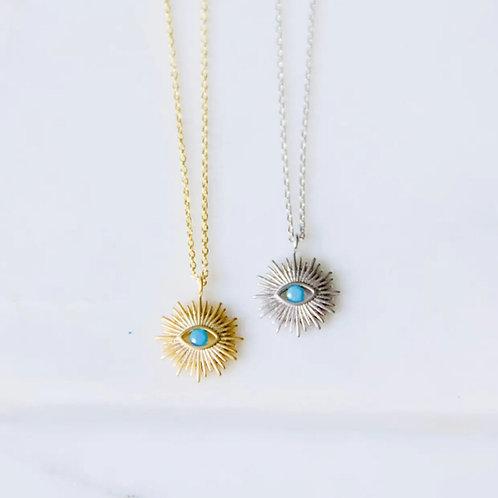 Turquoise Evil Eye Sunburst  Necklace