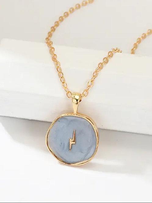 Blue  Lighting Charm Enamel Necklace