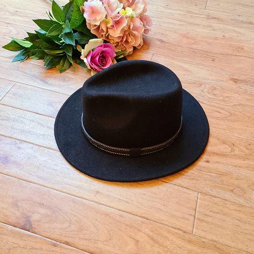 Black 100 %wool felt fedora hat
