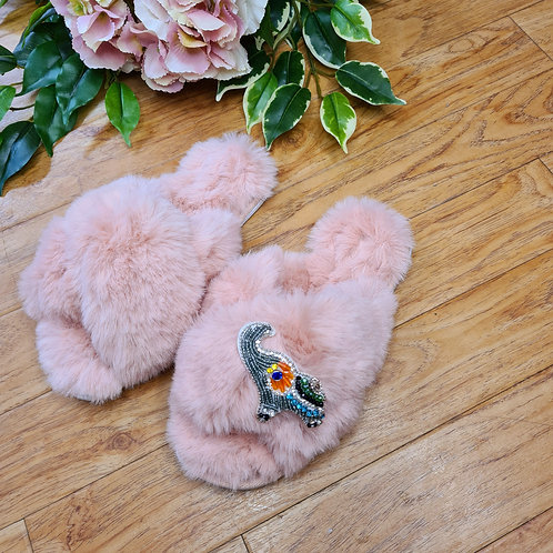 Fluffy Faux fur slippers with elephant in silver