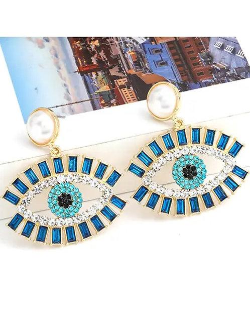Swarovski  Blue Crystal Eyelash  Statement Earrings
