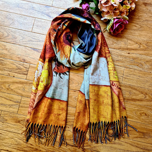 Printed Van Gogh cashmere scarf