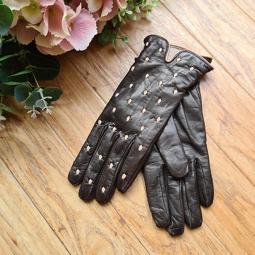 Brow with dots Italian leather gloves