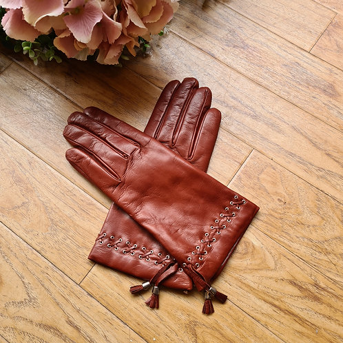 Camel Italian leather gloves with tassels