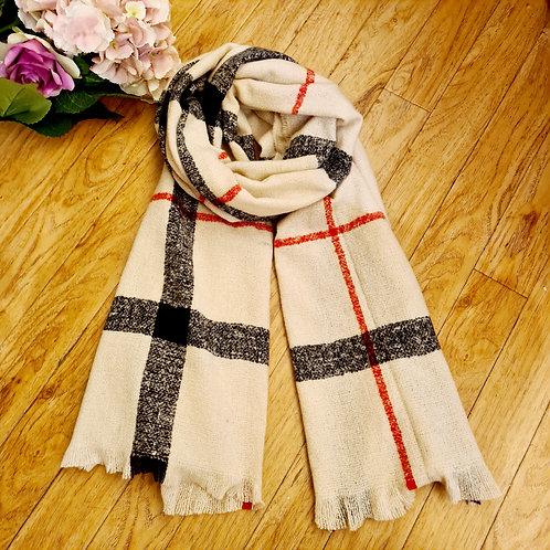 Cream stripped wool scarf