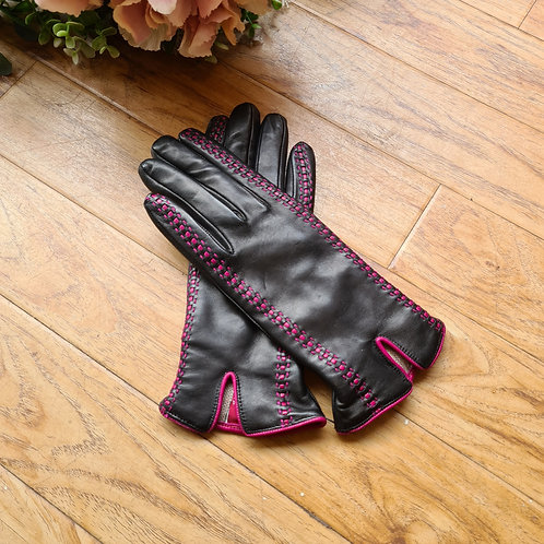 Black and pink Italian leather gloves