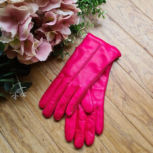 Fuchsia pink Italian leather gloves