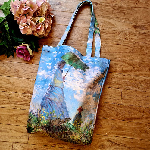The Woman with Parasol by Monet shopping bag