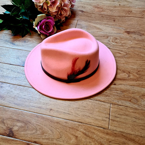 Baby  pink Fedora Hat