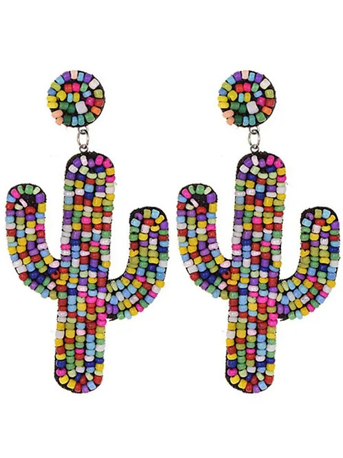 Rainbow  Beaded  Cactus  Earrings