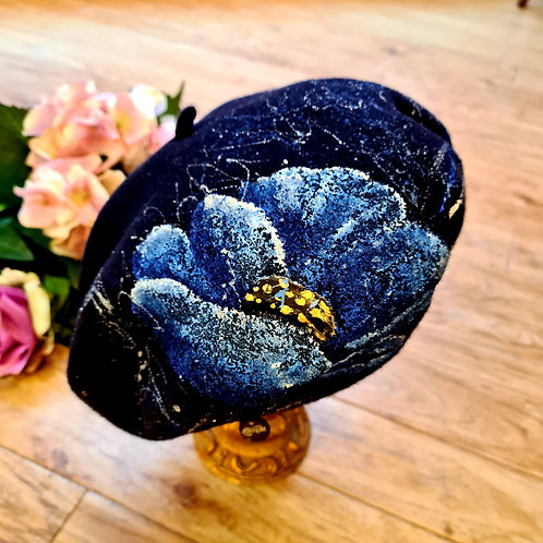 Hand painted 100%wool beret