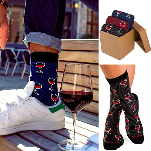 Wine lovers Combed cotton socks set of 3