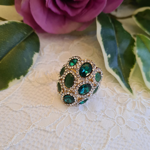Diamonte Green  ring One Size
