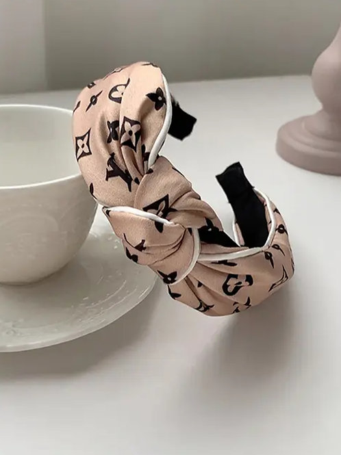Nude Letter Printed Knot Cotton  Headband
