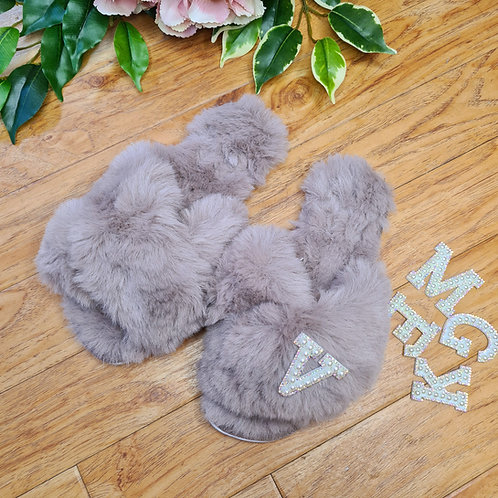Personalised Fluffy Faux fur slippers Grey