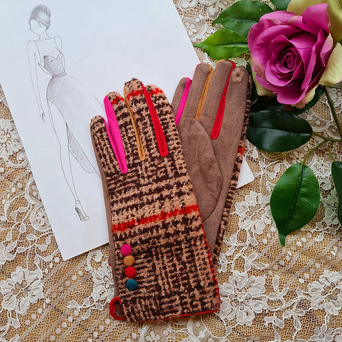 Brown multi color gloves One size