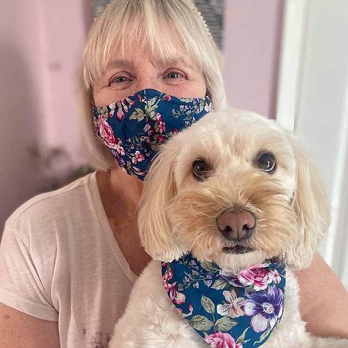 Cotton face mask with matching dog bandana