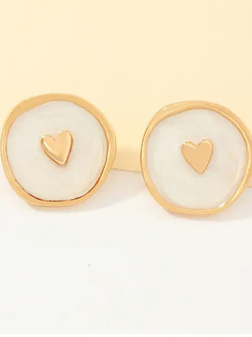 Gold Heart   Enamel Earrings