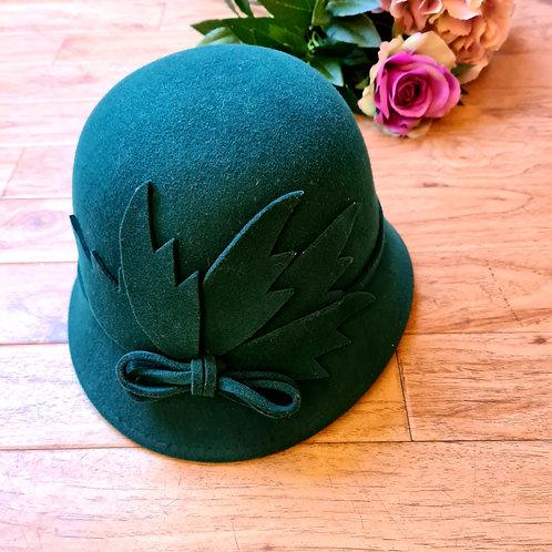 Green Cloche Hat 100% felt wool