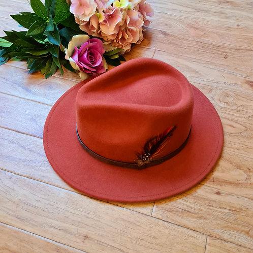 Terra Cotta 100 %wool felt Hat
