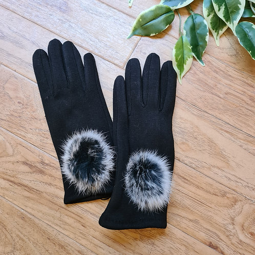 Black pompom gloves