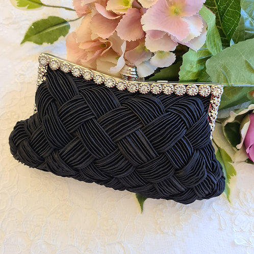 Clutch bag black with silver