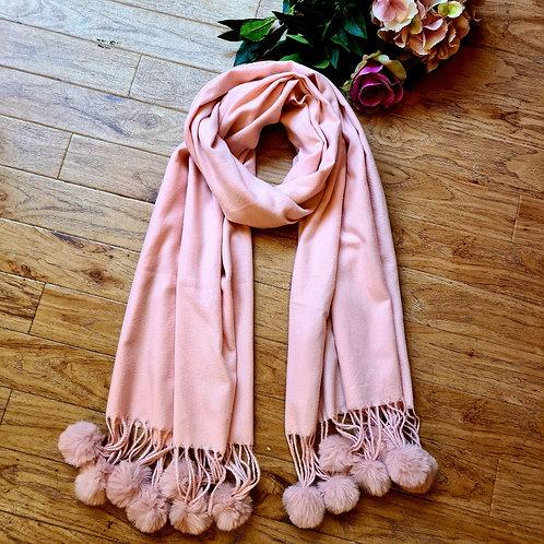 Pink pompom scarf