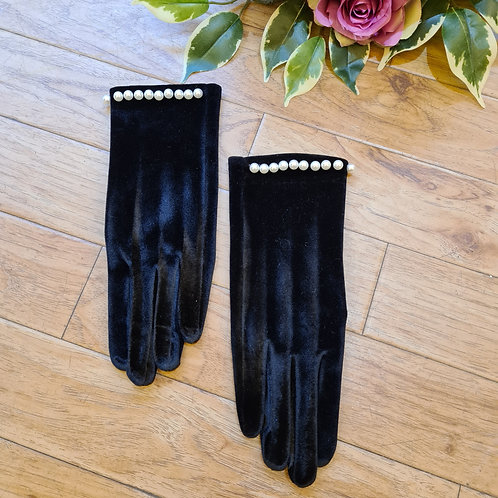 Navy Velvet Gloves with pearls